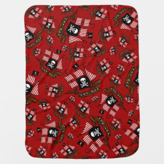 Red pirate ship pattern swaddle blankets