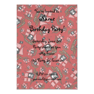 Red pirate ship pattern magnetic invitations