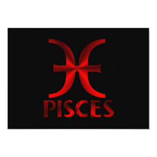 Red Pisces Horoscope Symbol Card