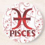 Red Pisces Horoscope Symbol Coasters