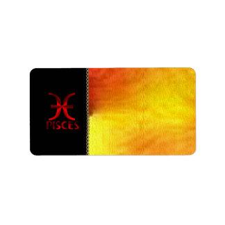 Red Pisces Horoscope Symbol Label
