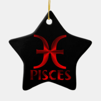 Red Pisces Horoscope Symbol Christmas Tree Ornaments