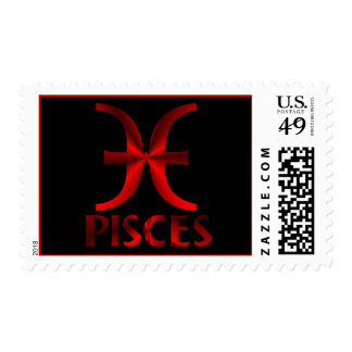 Red Pisces Horoscope Symbol Stamps