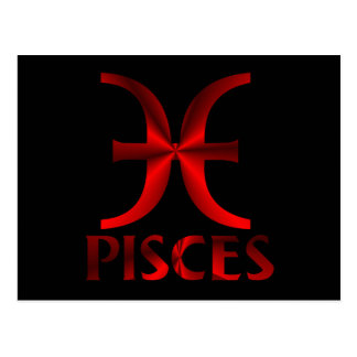 Red Pisces Horoscope Symbol Postcard