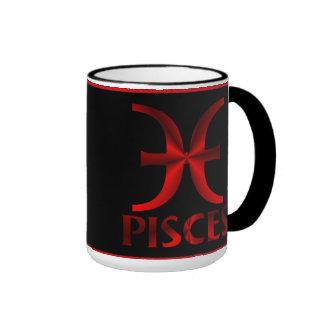 Red Pisces Horoscope Symbol Ringer Coffee Mug