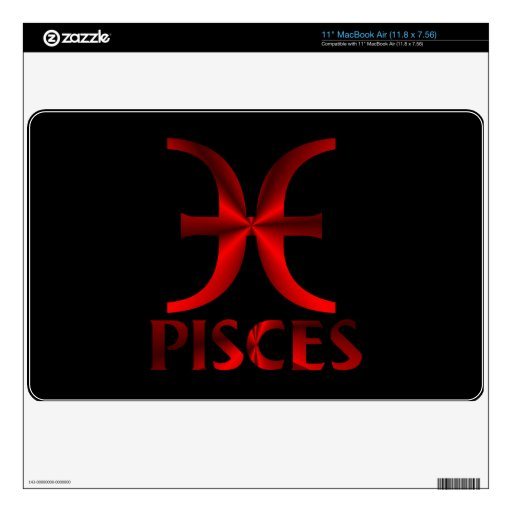 """Red Pisces Horoscope Symbol Decal For 11"""" MacBook Air"""