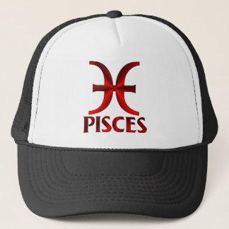 Red Pisces Horoscope Symbol Trucker Hat