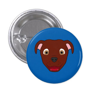Red Pitbull Face Button