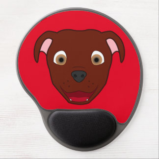 Red Pitbull Face Gel Mouse Pad