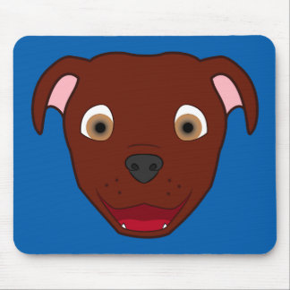 Red Pitbull Face Mouse Pad