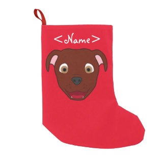 Red Pitbull Face Small Christmas Stocking