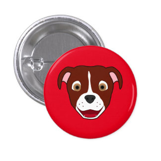 Red Pitbull Face with White Blaze Button