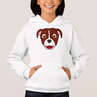 Red Pitbull Face with White Blaze Hoodie