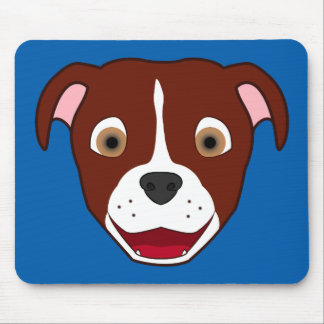 Red Pitbull Face with White Blaze Mouse Pad