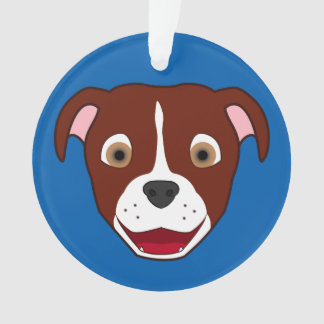 Red Pitbull Face with White Blaze Ornament