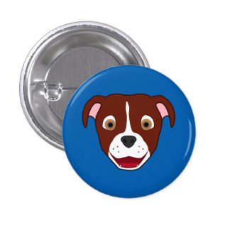 Red Pitbull Face with White Blaze Pinback Button