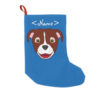 Red Pitbull Face with White Blaze Small Christmas Stocking