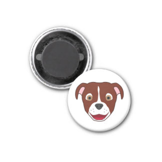 Red Pitbull with Blaze 1 Inch Round Magnet