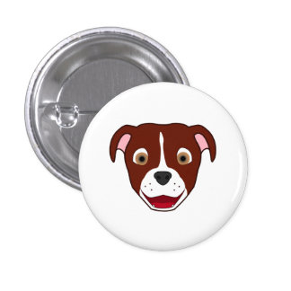 Red Pitbull with Blaze Pinback Button
