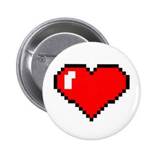 Red Pixel Heart Pinback Buttons