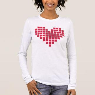 Red pixel heart long sleeve T-Shirt