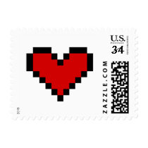 Red pixel heart love stamps for Valentine's Day