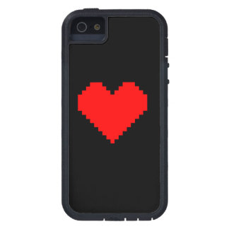 Red pixel heart phone case