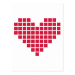 Red pixel heart post card