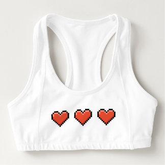 Red pixel heart sports bra