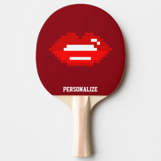 Red pixel kiss table tennis ping pong paddle
