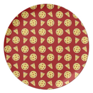 Red pizza pattern dinner plate