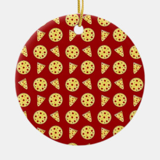 Red pizza pattern christmas ornaments