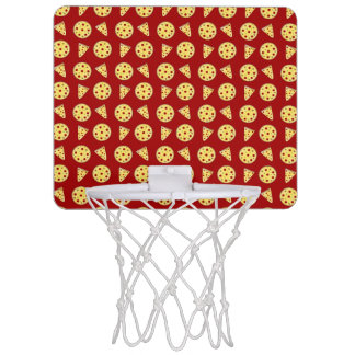 Red pizza pattern mini basketball hoops