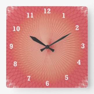 Red Plafond Square Wall Clock