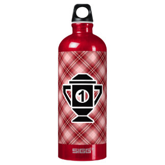 Red Plaid 1st Place Trophy Aluminum Water Bottle
