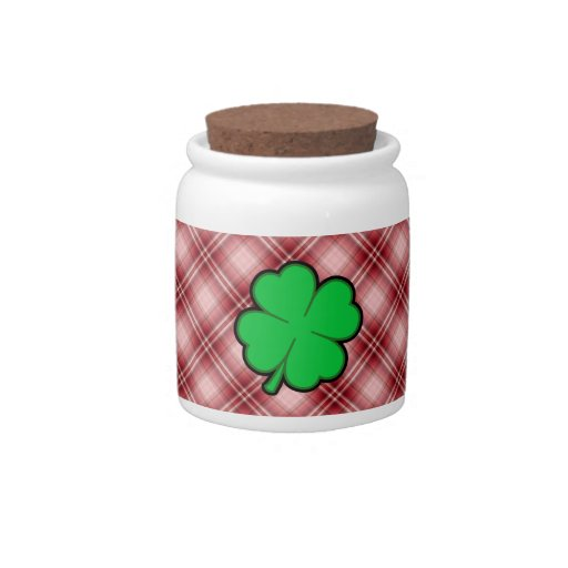 Red Plaid 4 Leaf Clover Candy Dishes
