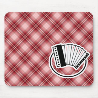 Red Plaid Accordion Mouse Pad