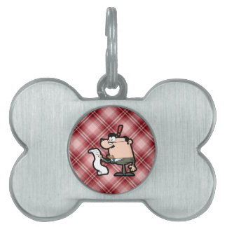 Red Plaid Accountant Pet Tags