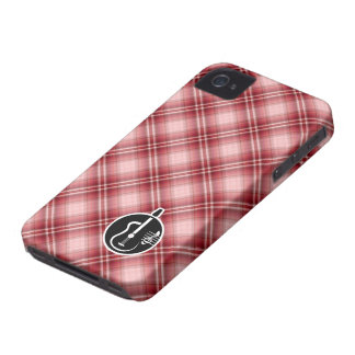 Red Plaid Acoustic Guitar iPhone 4 Case