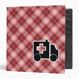 Red Plaid Ambulance 3 Ring Binder