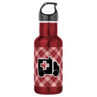Red Plaid Ambulance 18oz Water Bottle