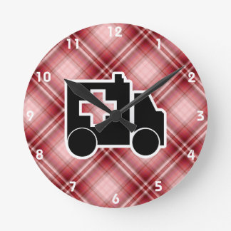 Red Plaid Ambulance Round Clock