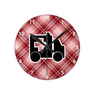 Red Plaid Ambulance Round Clock