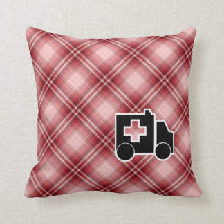 Red Plaid Ambulance Throw Pillow