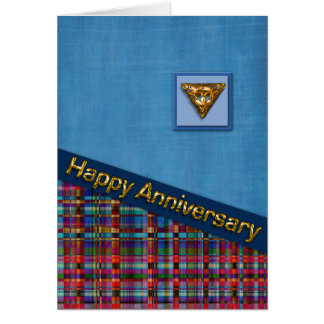Red Plaid and Blue Fabric Anniversary Card