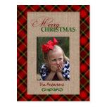 Red Plaid and Burlap Christmas Photo Card Postcard