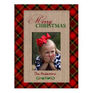 Red Plaid and Burlap Christmas Photo Card Postcards