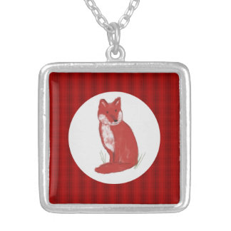Red Plaid and Fox Illustration Necklace