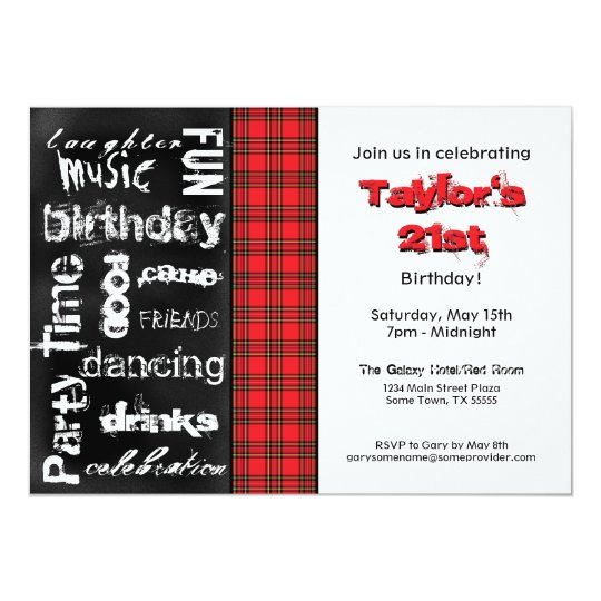 Red Plaid and Grunge Chalkboard Party Invitation
