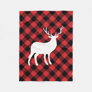 Red Plaid and White Stag   Holiday Fleece Blanket